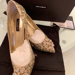 Beautiful Dolce and Gabbana gold sequin shoes